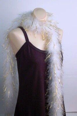 - MARABOU FEATHER BOA - WHITE w/ Gold LUREX Bridal/Trim