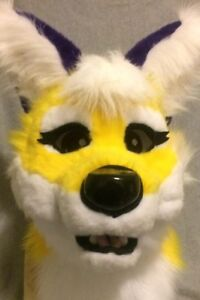 Yellow and Purple Fox fursuit partial