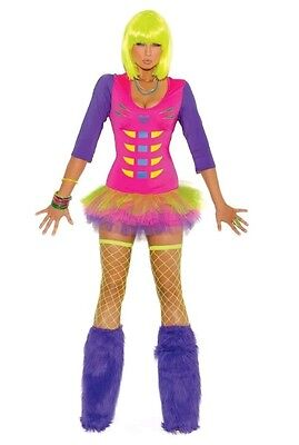 Black light receptive raven Bones costume sz L tulle mini dress nicki minaj like