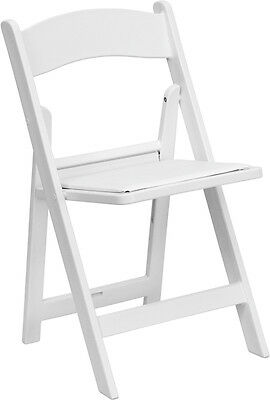 100 Pack White Resin Folding Chair With White Vinyl Padded Seat - Wedding Chairs