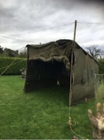 Ex Army Tent - 10.5' x 9' - Green Canvas - Roll up front
