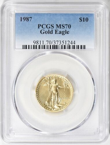 1987 $10 GOLD EAGLE PCGS MS70 VERY LOW POP 30 Low Mintage