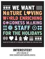 The Body Shop at Orchard Park is hiring for Christmas