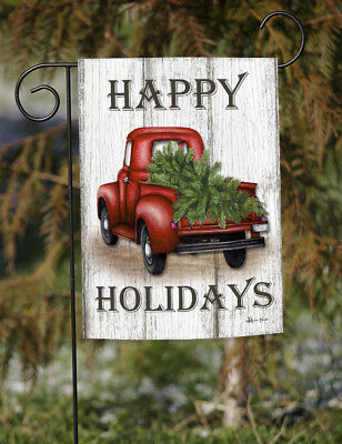 Toland Red Truck Holidays 12.5 x 18 Rustic Happy Christmas Tree Garden Flag