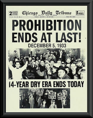 1933 Prohibition Ends Poster Reprint On Fine Linen Paper Bar Decor Man Cave 012