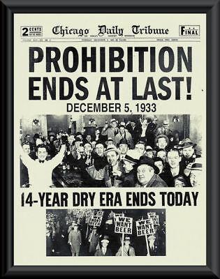 1933 Prohibition Ends Poster Reprint On Fine Linen Paper Bar Decor Man Cave 012