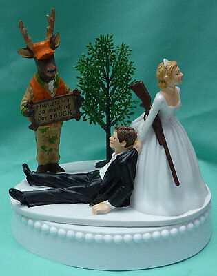 Wedding Cake Topper Deer Hunter Hunting Buck Themed Hunters Orange Camo - Camo Wedding Theme