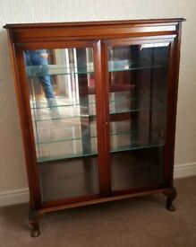 Stunning Vintage 1970s solid wood/glass display cabinet