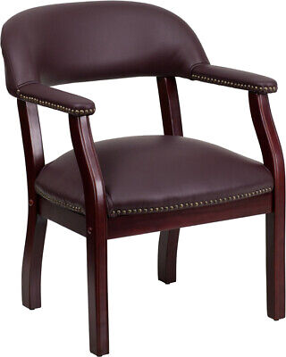 Traditional Style Burgundy Leather Conference Side Chair W Accent Nail Trim