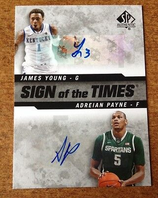 2014 15 Sp Authentic Sign Of The Times Dual  Yp Adreian Payne James Young Auto