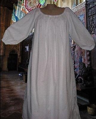 Renaissance Costume Medieval Chemise SCA Garb White Muslin 100% Cotton L XL