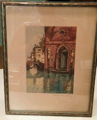 Antique pencil signed Louis Dauphin color etching Venice original proof 116/500