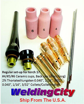 Tig Welding Torch 17 Kit Ak2 Collet-cup-cap-tungsten 040332 Us Seller Fast
