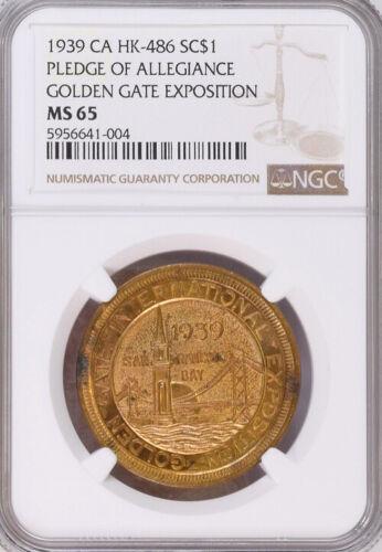 1939 Golden Gate Expo Pledge of Allegiance Medal - HK-486, MS65 NGC - Token