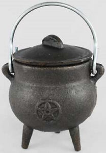 Small Pentagram Potbelly Cast Iron Cauldron Wicca Pagan