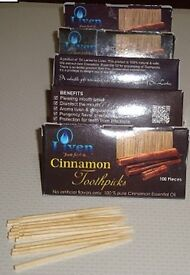 10 Packets of Cinnamon flavored Toothpicks plus Wooden Holder
