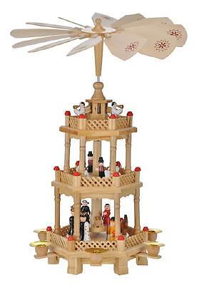 Holz Weihnachtspyramide 3-stöckig ca. 42cm Pyramide Weihnachtsdeko