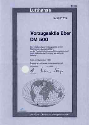 Deutsche Lufthansa 1969 Köln Berlin Kranich Rare 500 DM Vorzugsaktie Weltkugel