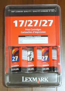 LEXMARK PRINTER CARTRIDEG #17 & #27 PACK OF 3
