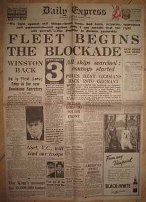 3c0316865cad 1939 Newspaper Start of World War II Churchill Daily Express I England  Germany