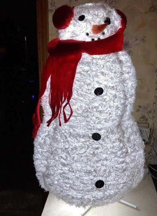 """30"""" LED CHRISTMAS SNOWMAN Red Scarf Door Greeter Display"""