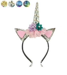 6 Gold and Silver Glitter Unicorn Headbands New!