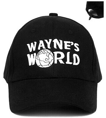 Wayne's World Hat Cap Adjustable Movie Hat Adult Unisex Black Baseball Cap