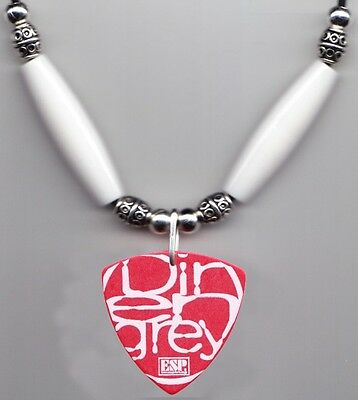 Dir en grey Die Red Guitar Pick Necklace White Beads