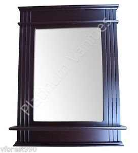31 X 22 Rectangle Wenge Espresso Wood Bathroom Vanity Glass Wall Mirror Shelf