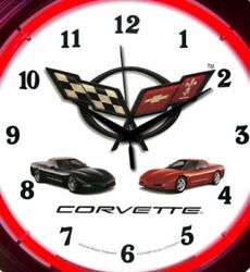 Chevy Corvette Automobile Muscle Car Neon Clock 15 Inch Office Game Room Garage