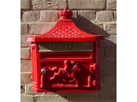 Brand new Red Wall Mounted Post Mail box cast aluminium