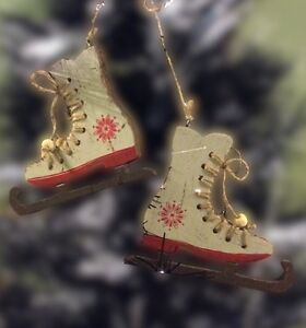 Pair Wooden Nordic Red White Hanging Ice Skating Boot Christmas Tree Decoration