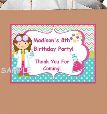 18 Personalized Science party stickers,birthday,labels,favors,lab experiment