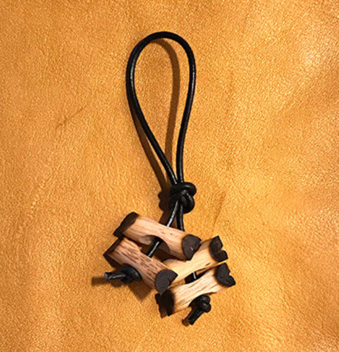 Four Miniature Wood Badge Beads on a Zipper Pulls