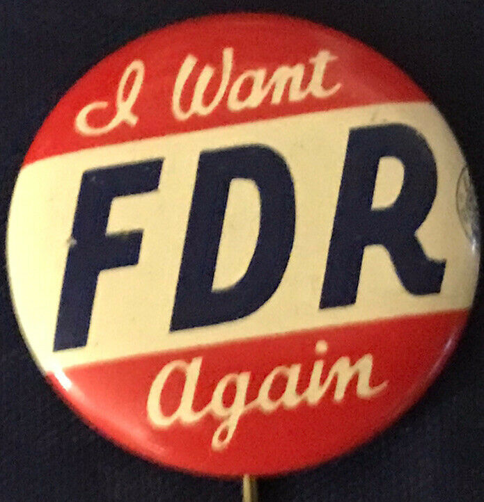 "FDR 1"" Pin Political PinBack FRANKLIN ROOSEVELT 1936 CAMPAIGN Button Advertising"