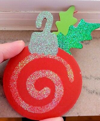 6 Wood Christmas Bulb Cutouts with Glitter Package Topper Crafts Wreaths BX