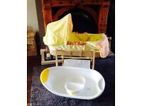 Baby Moses Basket Stand, Bath, Top & Tail - Cot Bathing Newborn