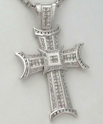 "14K WHITE GOLD 5.00ct SQUARE DIAMOND CROSS CRUCIFIX GALLERY PENDANT 2.76"" 37g"