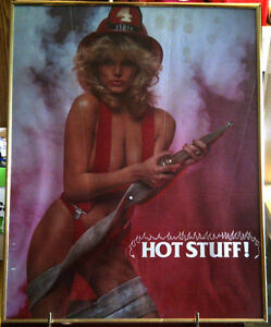 Hot Stuff 1985 Vintage Poster - woman firefighter