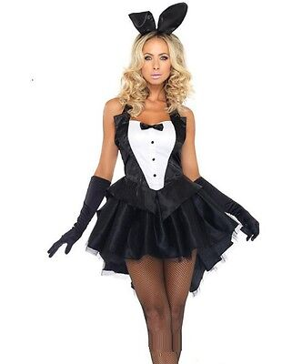 Halloween Costume Tailcoat (Sexy Black Bunny Girl Tuxedo Tailcoat Dress Woman Costume for Halloween)