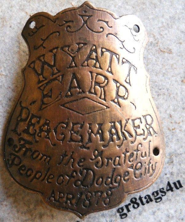 Wyatt Earp Peacemaker solid brass gun grip tag western butt plate