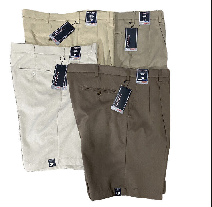Roundtree & Yorke Mens Pleated Travel Smart Chino Shorts 36 38 40 42 Stretch Clothing, Shoes & Accessories
