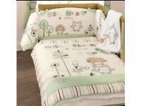 Olive and Henry Cot bed, wardrobe, changing unit, mattress, bedding and canvas pictures