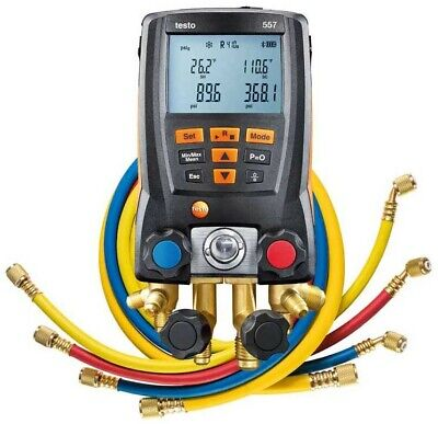 Testo 557 Digital Manifold Kit With Hoses External Vacuum Probe Bluetooth