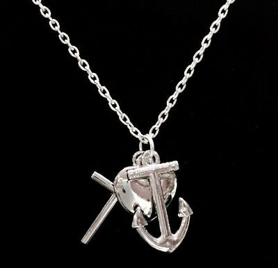 Necklace Faith Cross Hope Anchor Love Heart Christian Bible God Christmas Gift