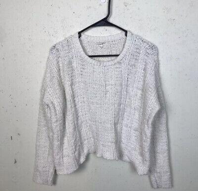 Eileen Fisher Medium Petite Cream Knit Boxy Crop Organic Cotton Sweater