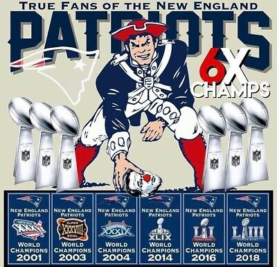 2 New England Patriots 6X Super Bowl Champions 4x3.8 Vinyl Stickers Car Decal