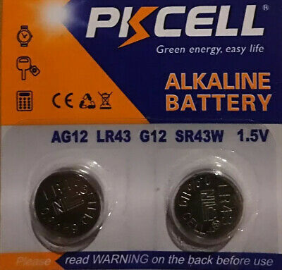AG12 PKCell LR43 386 LR1142 1.5V 2-Alkaline Batteries USA shipping
