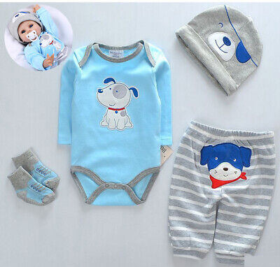 """20""""- 22"""" Reborn Baby Dolls Clothes Suit 4 in 1 Romper+Hat+Pants Boy Blue Outfits"""