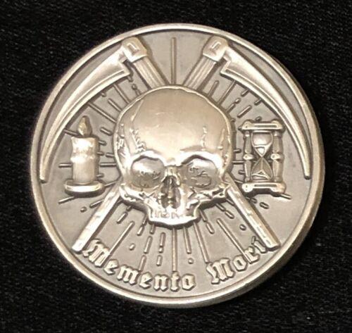 """Memento Mori Master Mason Freemason Masonic coin, 1.75"""", antique silver EDC"""
